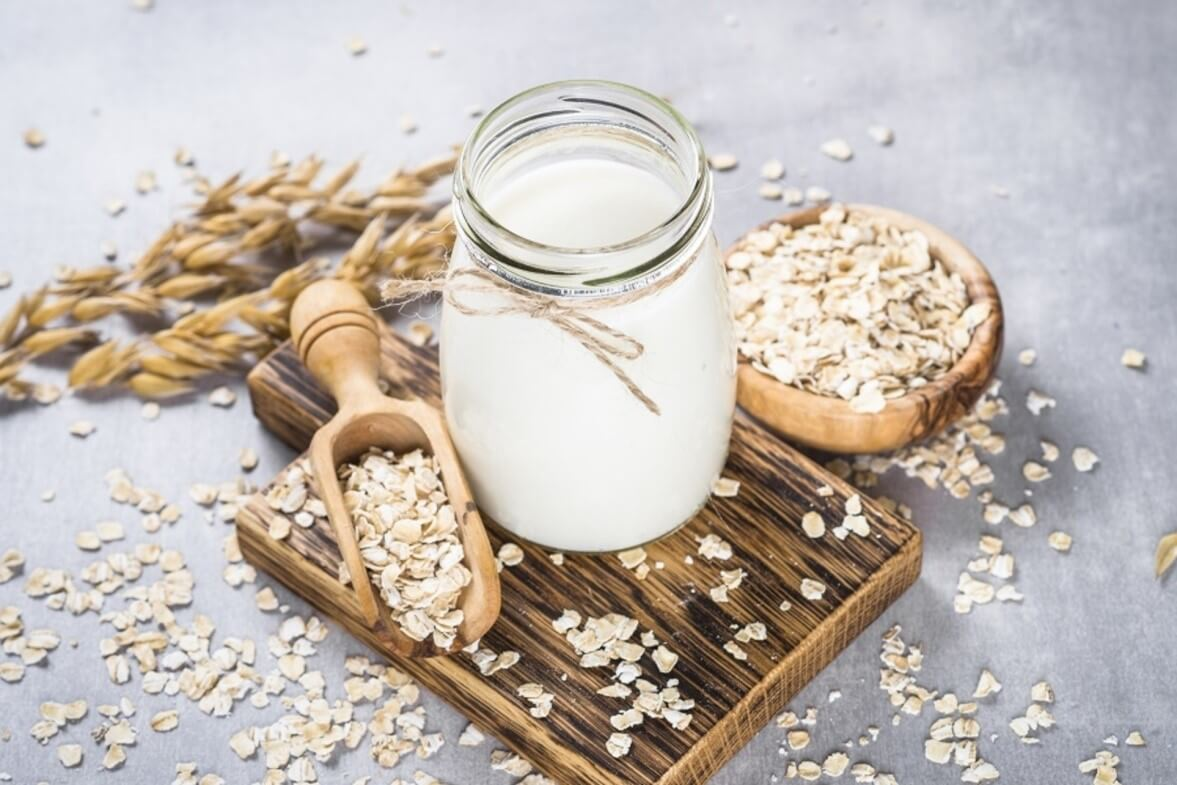 cup of milk with oats on a serving dish