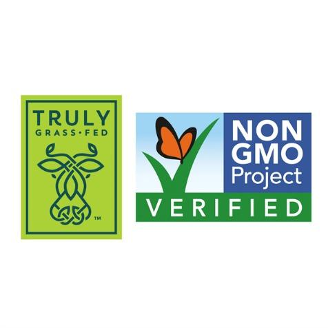 Truly Grass Fed logo | Non GMO project verified logo
